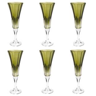 Jogo 6 Taças De Champagne Cristal Wellington Kale Bohemia 180 Ml