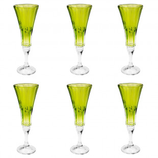 Jogo 6 Taças De Champagne Cristal Wellington Lime Bohemia 180 Ml