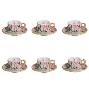Jogo 6 Xícaras De Chá Cerâmica Carmelle Maison Blanche