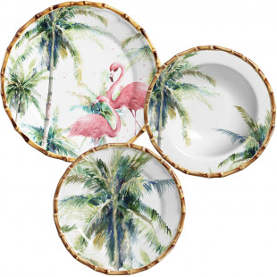 Jogo De Jantar Flamingo Azurra Maison Blanche 18 Pçs