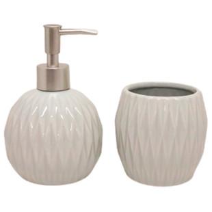 Jogo De Banheiro 2 Peças Cerâmica Cinza Perolado