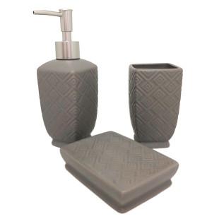 Jogo De Banheiro 3 Peças Cerâmica Cinza