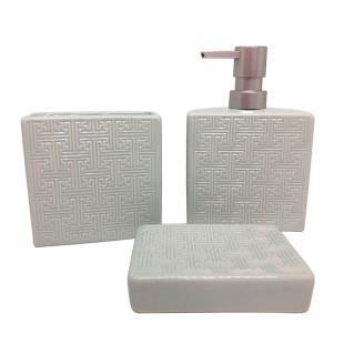 Jogo De Banheiro 3 Peças Cerâmica Cinza Perolado