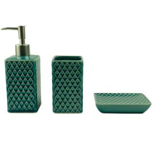 Jogo De Banheiro 3 Peças Cerâmica Verde