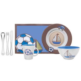 Kit Infantil Tramontina para Refeição Azul Cerâmica Aço Inox 7 Peças