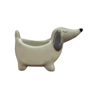 Mini Cachepot Cachorro Basset Porcelana