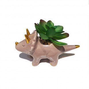 Mini Cachepot Cerâmica Dinossauro Cinza