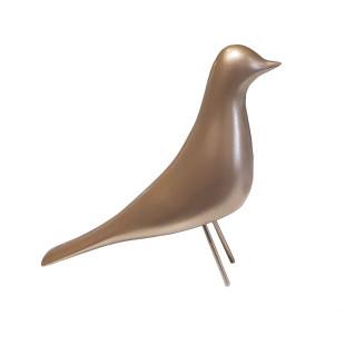 Pássaro Decorativo Dourado De Resina Limoeiro