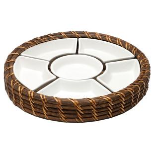 Petisqueira Redonda De Rattan Com Divisória De Cerâmica Bon Gourmet