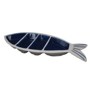 Petisqueira de Cerâmica 3 Divisões Peixe Azul e Branco