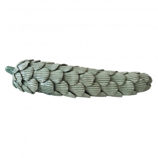 Pinha Verde Decorativa De Cerâmica