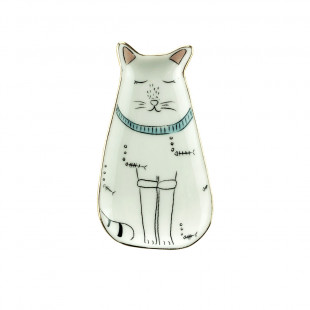 Porta Anéis Em Porcelana Gato