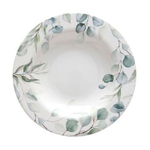 Prato Fundo Cerâmica Aquarelle Eucalipto