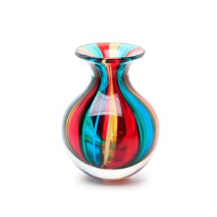 Vaso De Cristal Bastões Coloridos Com Fios Murano