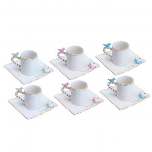 Xícara de Café Porcelana Birds Plate Wolff 6 Pçs