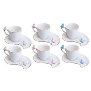 Xícara de Café Porcelana Cute Birds Plate Wolff 6 Pçs